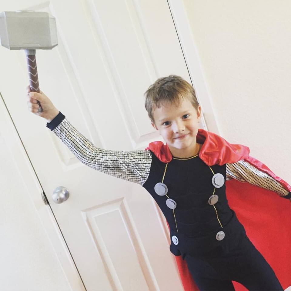 DIY Thor Costume. DIY handmade costume sewing ideas, with patterns and how-tos. Come see (almost) all the costumes I've ever made for my kids, from the very beginning! || PIn Cut Sew Studio #costumes #Halloween #cosplay #sewingcostumes #easysewing #costumestomake #diycostumes