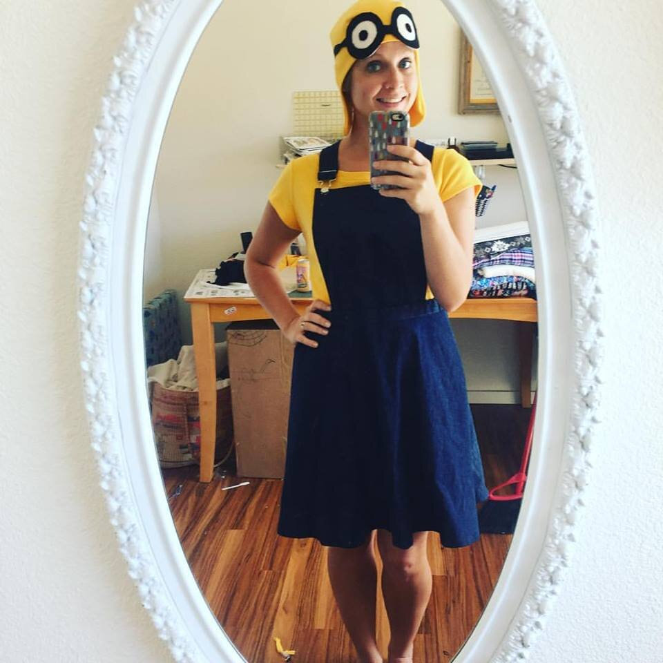Minion Costume DIY. DIY handmade costume sewing ideas, with patterns and how-tos. Come see (almost) all the costumes I've ever made for my kids, from the very beginning! || PIn Cut Sew Studio #costumes #Halloween #cosplay #sewingcostumes #easysewing #costumestomake #diycostumes