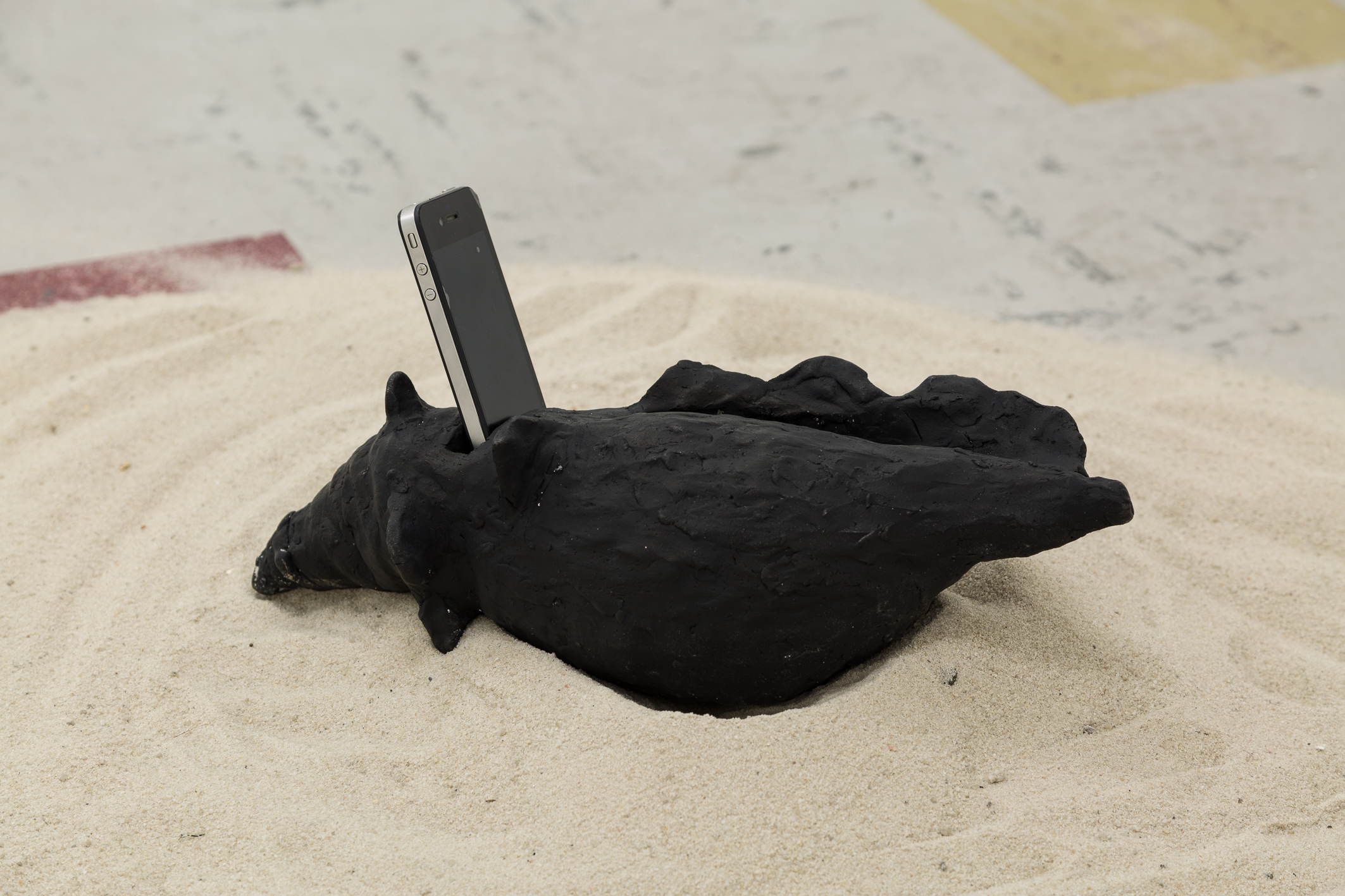 Materials; Sand, clay, gouache and two sound compositions played through broken phones and amplified by the clay conches.  Images courtesy of Christo Crocker.