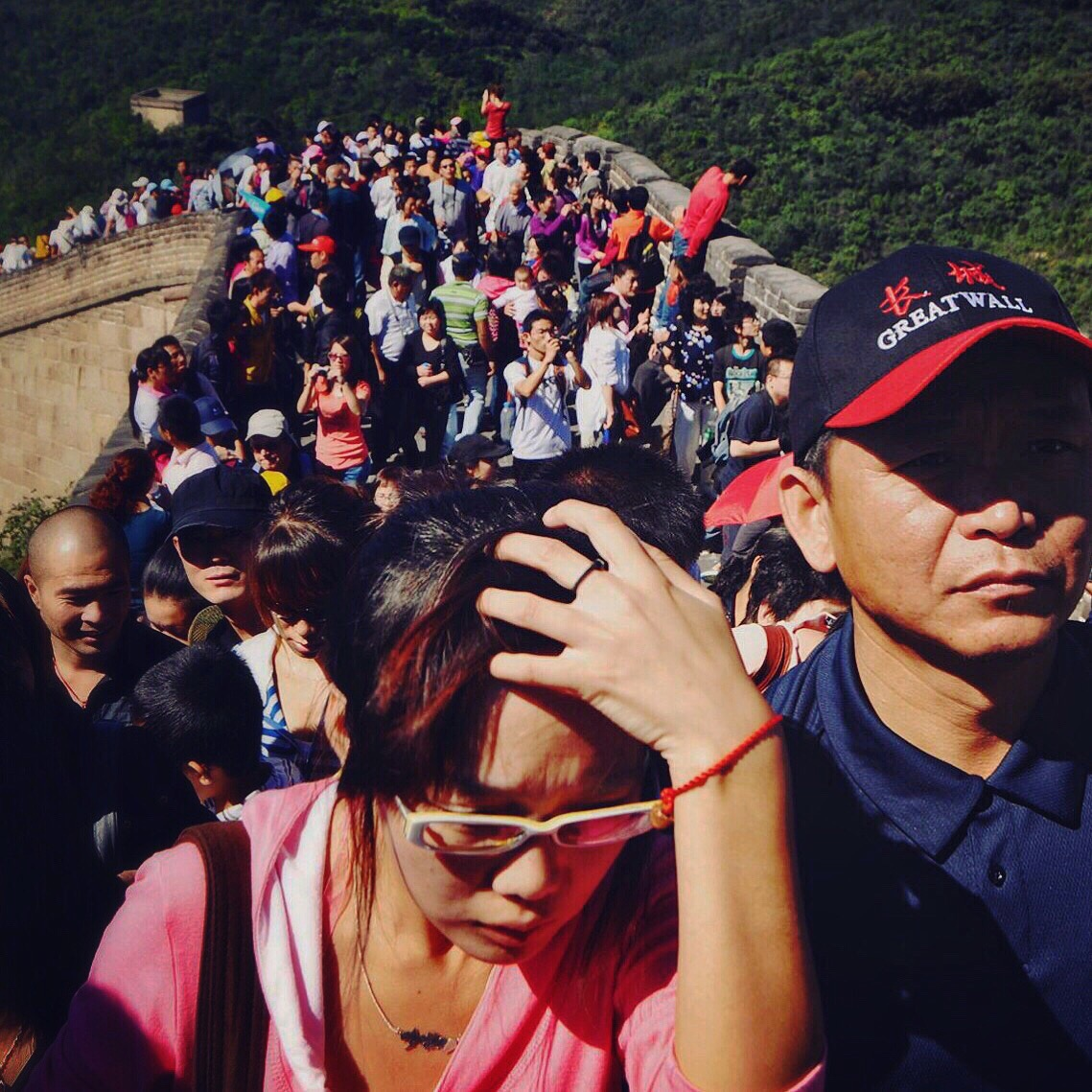 The Badaling Great Wall during National Holiday Golden Week, Beijing.