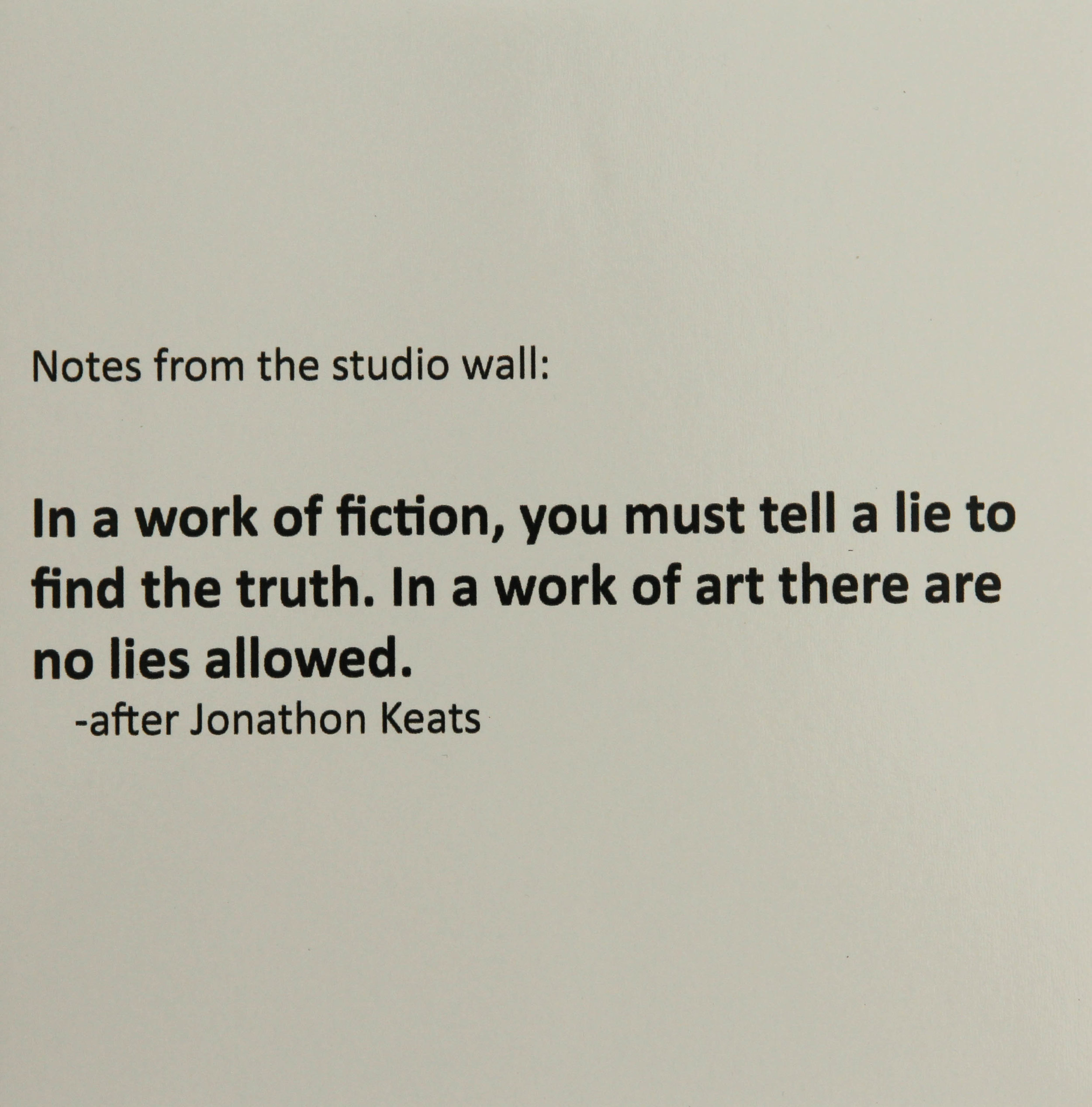 Notes on the studio wall