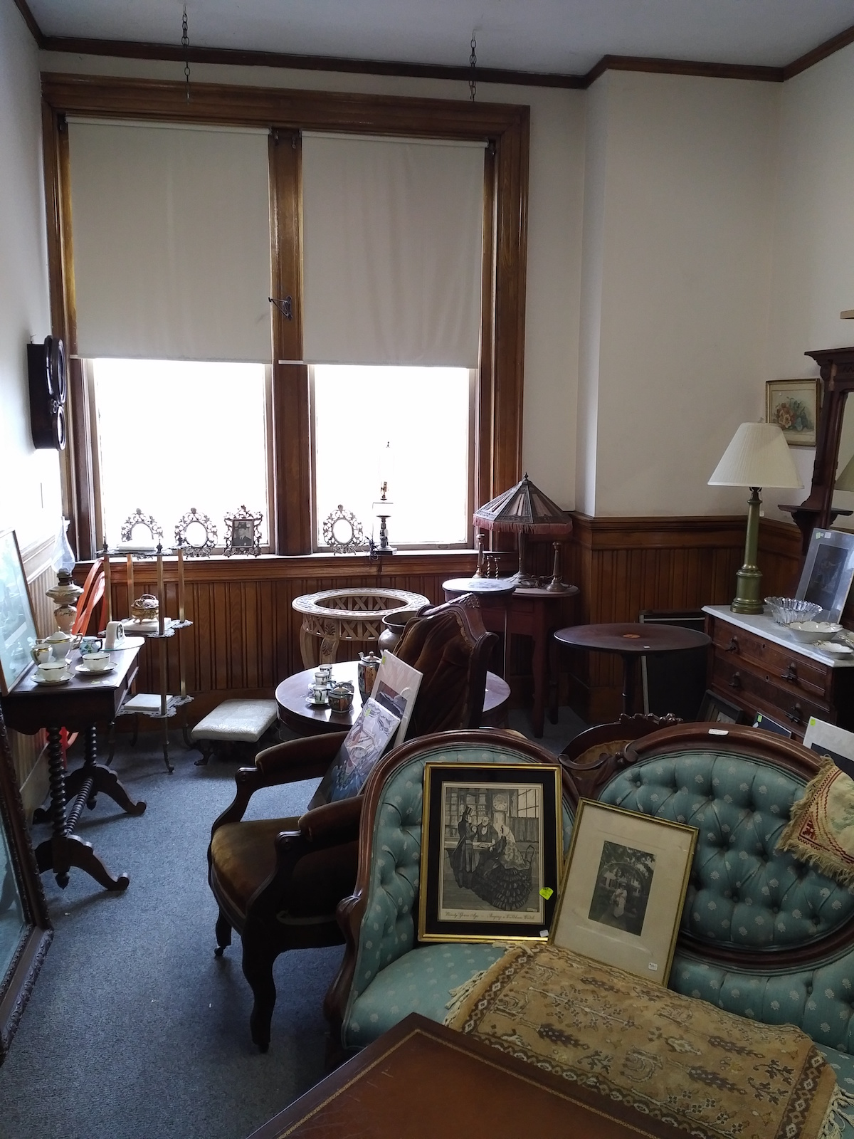 One of the 25 rooms at Hilltop Antiques. . .the view of downtown Skowhegan from those windows is charming.