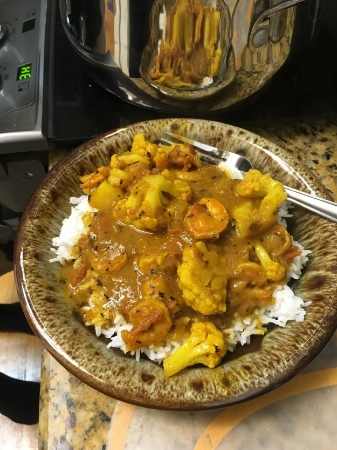 Tadaa!  There is the finished product. So many textures and flavors.  Side note, if you for some reason decide not to include the tomatoes, your curry will be the brightest, sunniest-yellow meal you will have ever eaten in your entire life.
