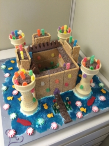 Yes, a confectionary (not at all to scale) replica of Bodiam Castle.  Try not to be too bowled over by our architectural prowess and construction skills.