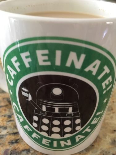Look! Isn't it so awesome! This is my favorite mug! Get it? Skarobucks! That's my favorite part. :-)