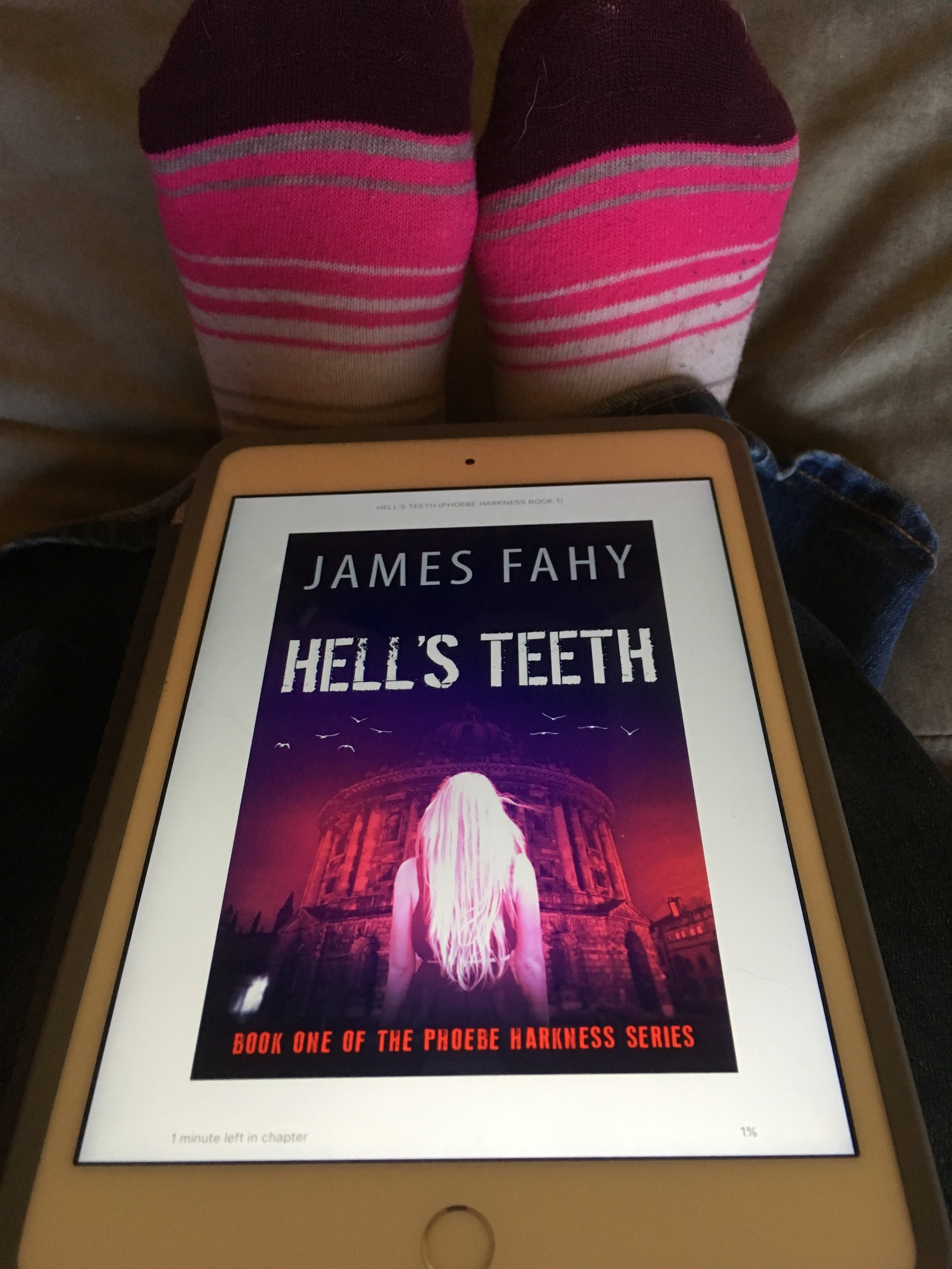 Did I pair my socks with the cover of James Fahy's  Hell's Teeth ? Yes. Yes, I did. :D And I really rather like it! Is that not an eerily gorgeous cover? I usually hate models on covers because I want to imagine the characters myself, but I think this works.