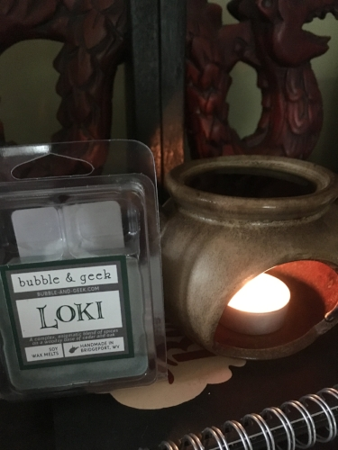 Currently burning: Loki from Bubble and Geek, as it smells like pine and woods, and I want an outdoorsy scent whilst I write this.