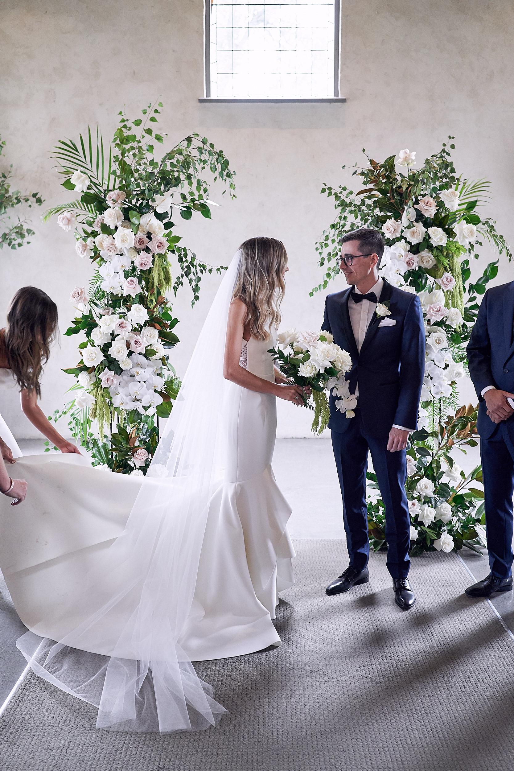Ceremony Modern Romantic Wedding Flowers Stones