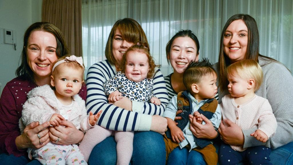 Mothers' groups help new mums feel socially connected. Marion Mums and Bubs members Karen Davis with Ella, Alexandra Baker with Xanthe , Shirley Tan with Alexander and Rachel Whittenbury with Zoe. Picture: Brenton Edwards