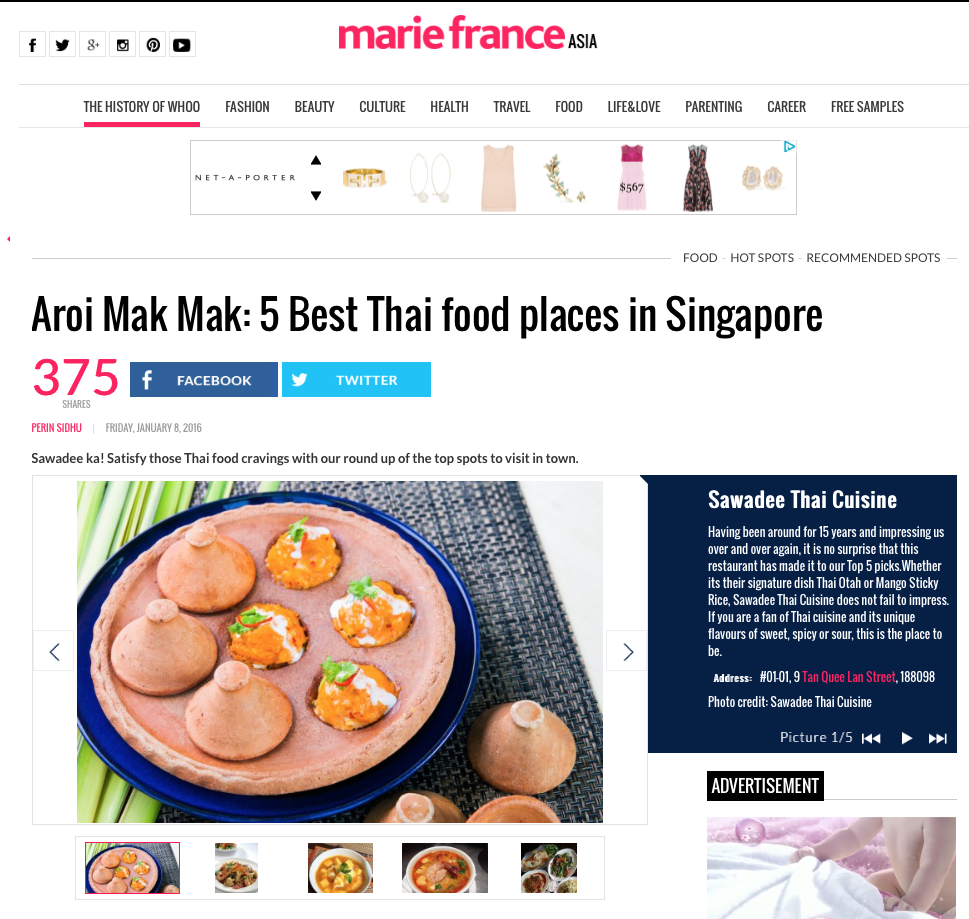 Marie France, 5 Best Thai food places in Singapore, January 2016