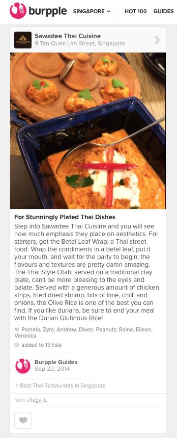 Bupple, Best Thai Restaurants In Singapore