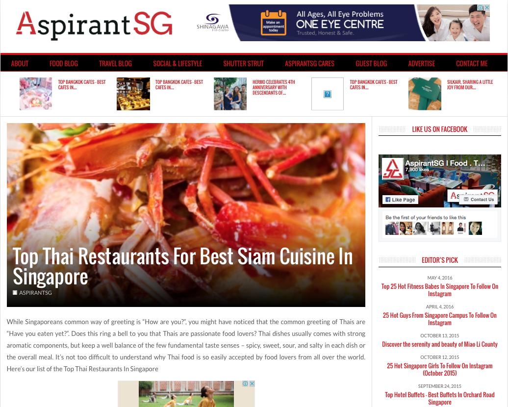 Aspirants SG, Top Thai Restaurants for Best Siam Cuisine in Singapore, 2016