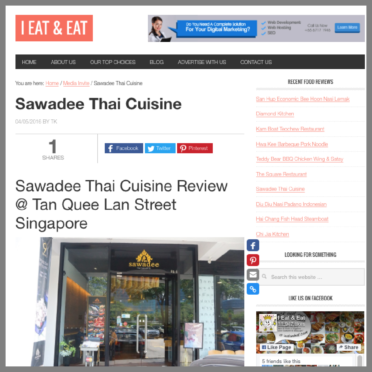 i Eat and Eat, 4 May 2016     The profusion of exotic Thai flavours from the dishes and emphasis on the aroma make it one of the coveted Thai restaurants around.