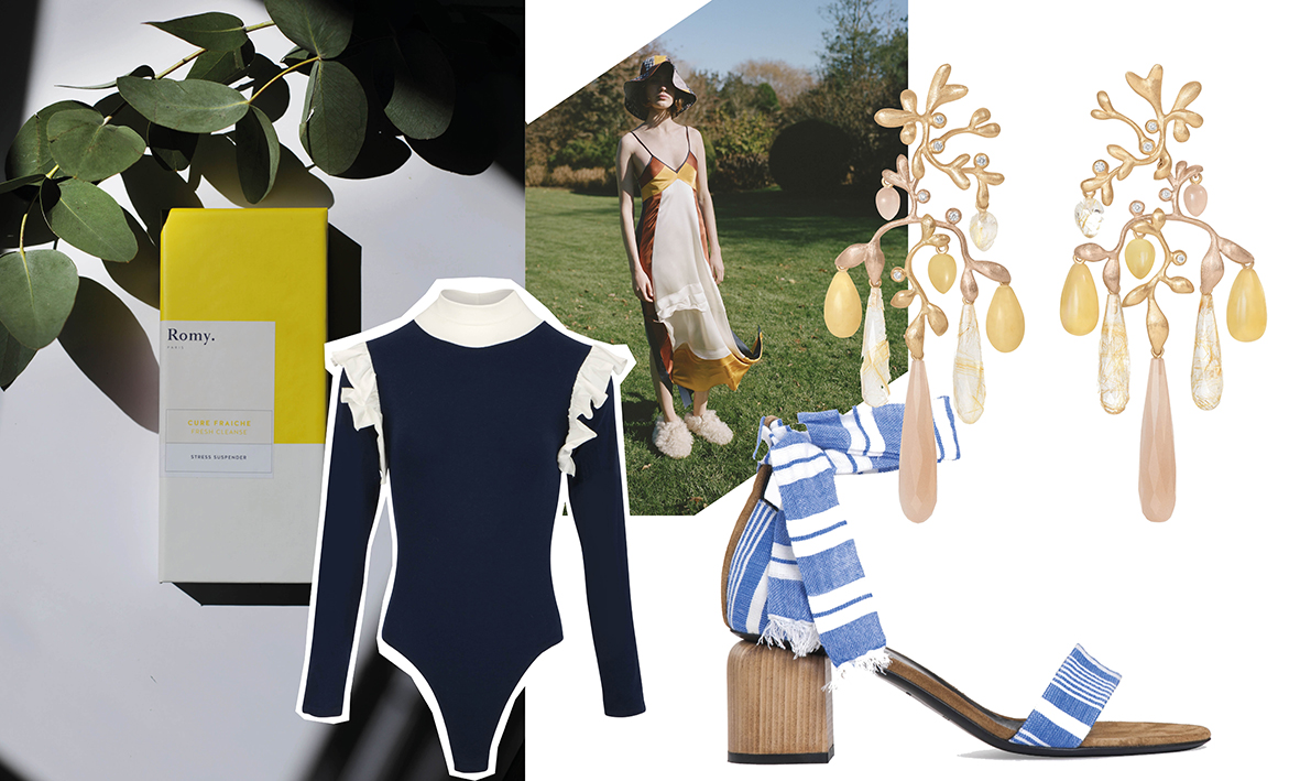 Montage : Body Luz, Look mode Tory Burch, Soin visage Romy, Chaussures pierre hardy, boucles oreilles Ole Lynggaard Copenhag