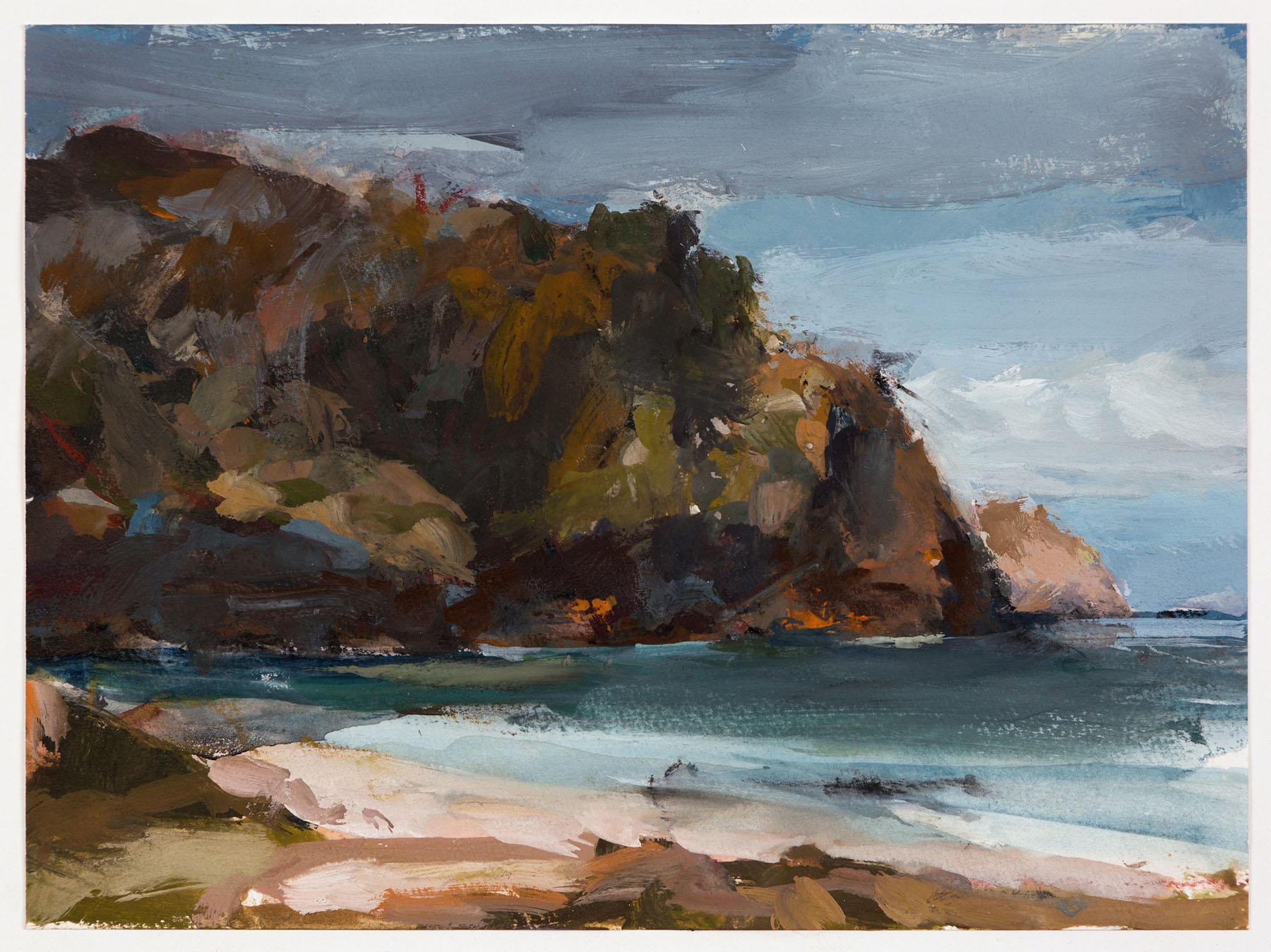 Gabrielle Collins,  Neds Beach . Gouache on paper, 14 x 19cm image, 37 x 41cm framed.