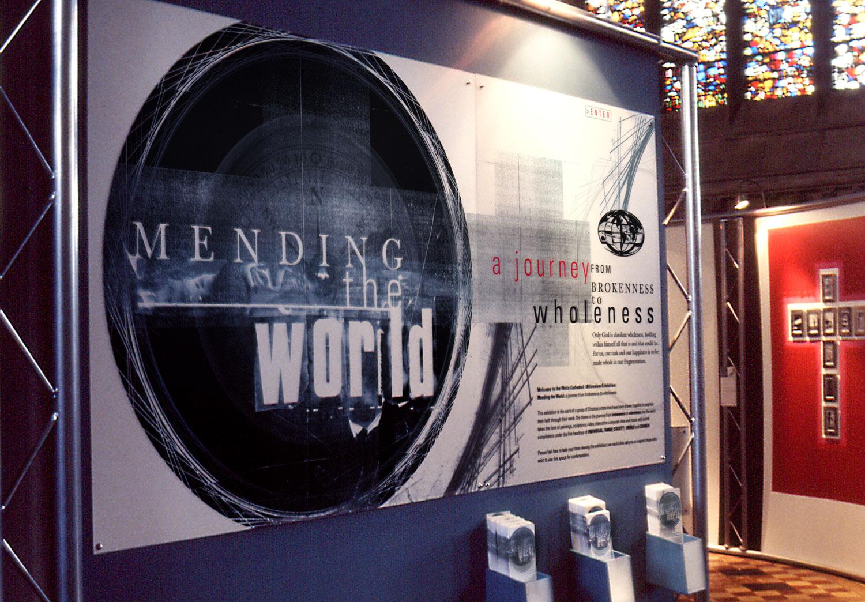 'Mending The World' Exhibition Entrance Panel Insitu