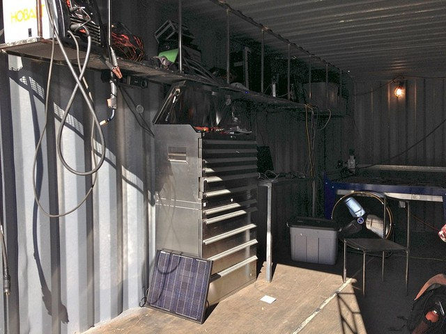 The first Gearbox workshop in a shipping container