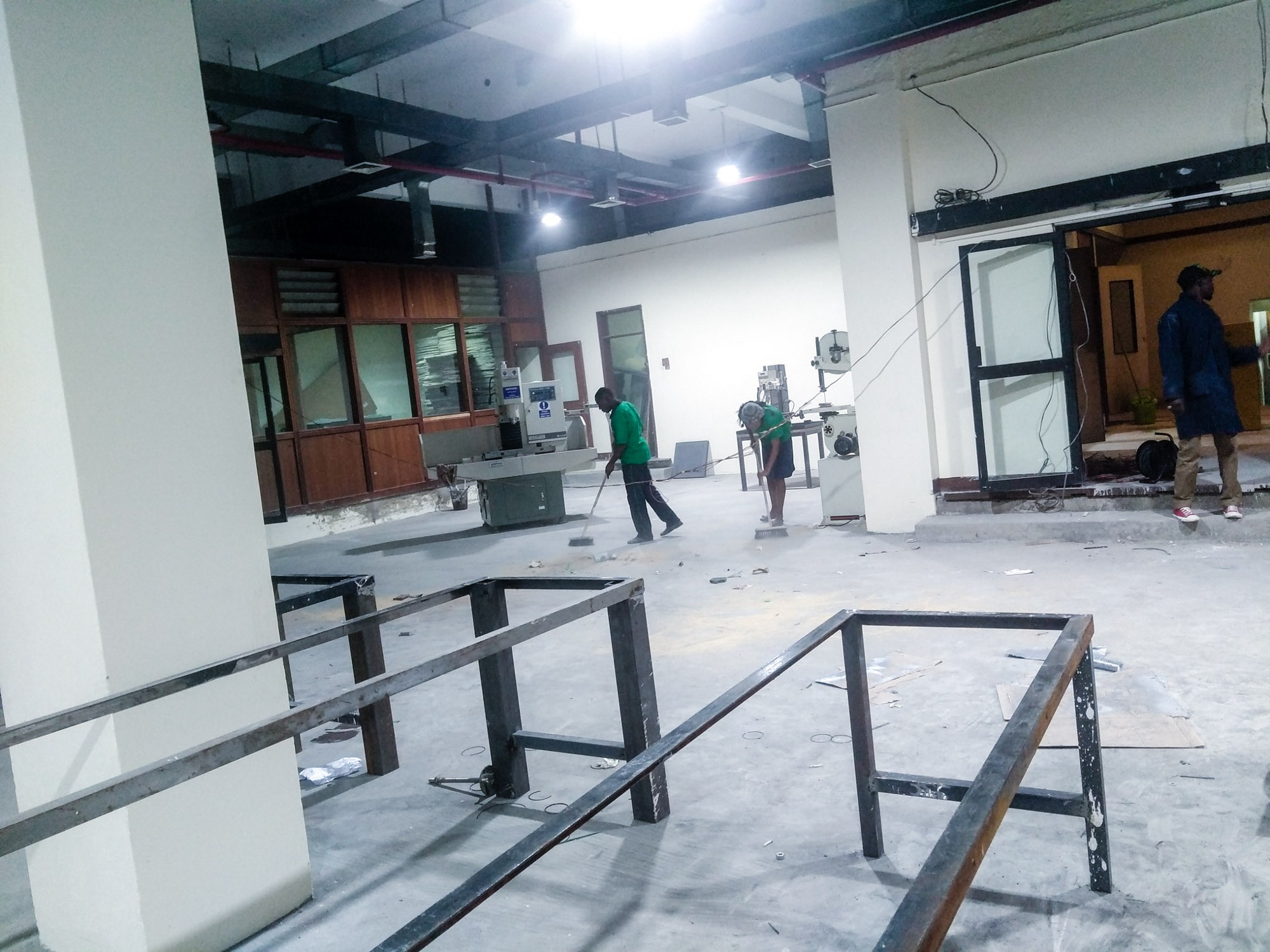 The ground floor workshop under construction at Gearbox in Industrial area