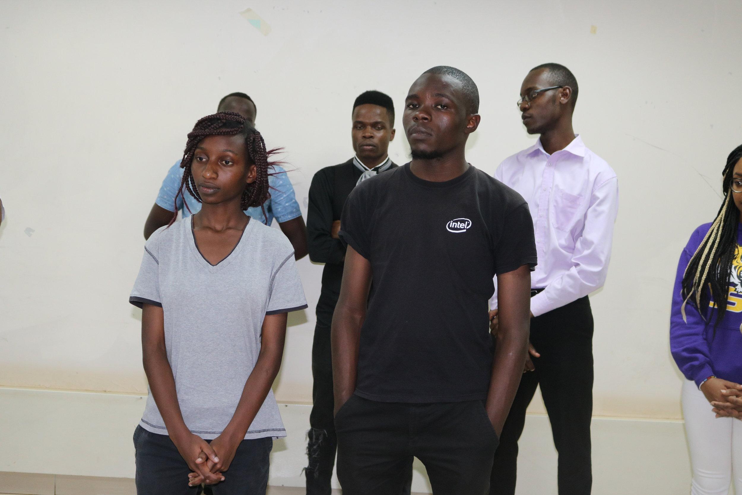 Full scholarship winners Sylvia Ngari and Fidel Makatia