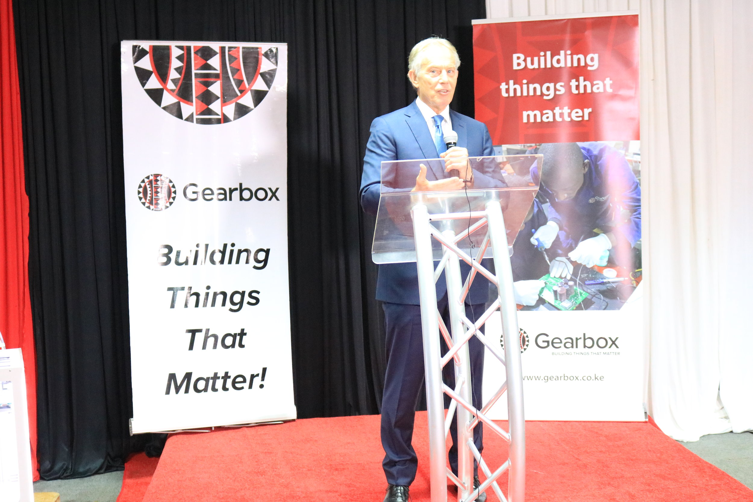 Tony Blair speaking at Gearbox