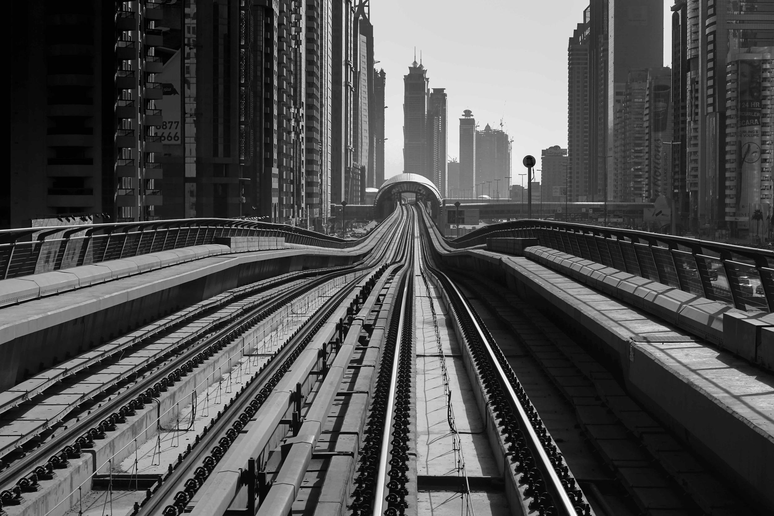 yuri torres photography   SIGHTSOULS BLOG   DUBAI Metro Skyscrapers Grey Black and White.jpg