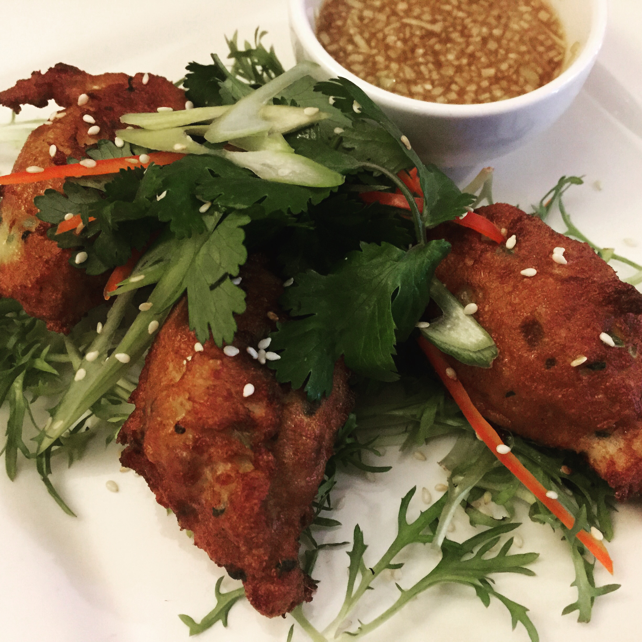 Thai Barramundi Fish Cakes - served with a spicy apple dip