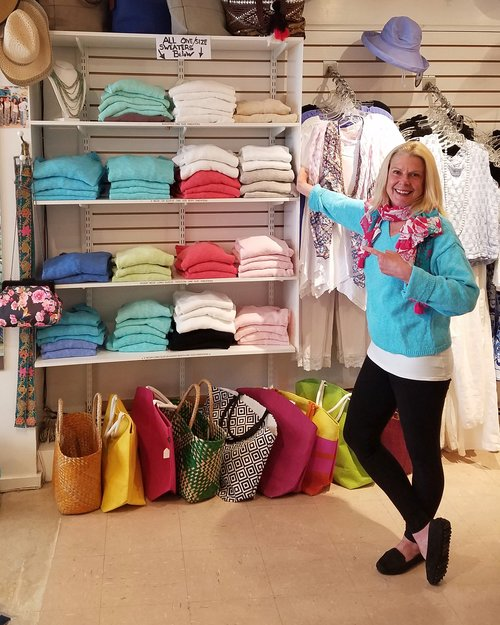 Dee's pick of the week: Avalin Cotton slub sweaters! A DJ Hart favorite every spring and summer.  We currently have 3 one-size styles to choose from. Dee is wearing a short waisted v-neck version in turquoise!