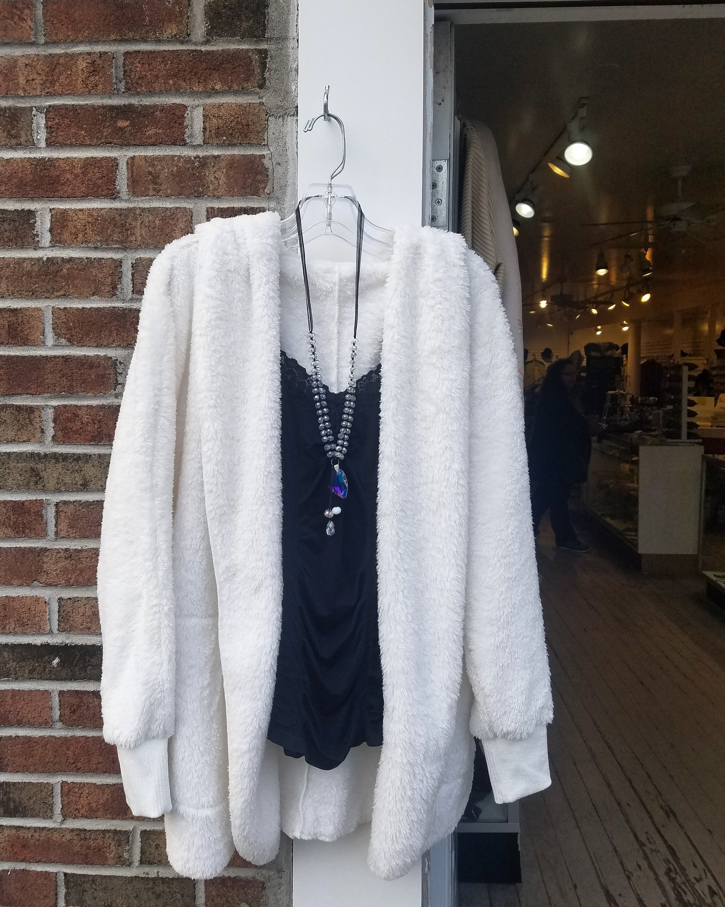 Fabulous fluffy jackets are back from Hem and Thread!!! Wear over a lacy M. Rena tank and finish with a sparkly crystal necklace for a great look on New Year's Eve!!!  12/31/18