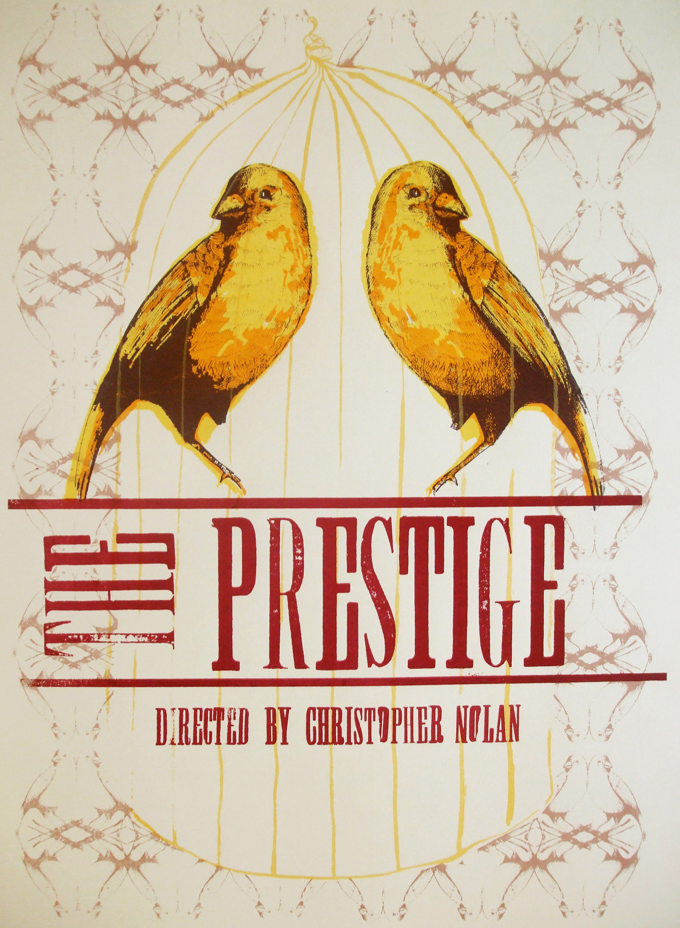 An alternative movie poster for The Prestige, for an exhibition in the Filmhouse Edinburgh. The design was screen-printed and typeset by hand.