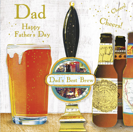 A collaged craft beer design for  Paper Rose  for the award winning greeting card collection 'Magpie'