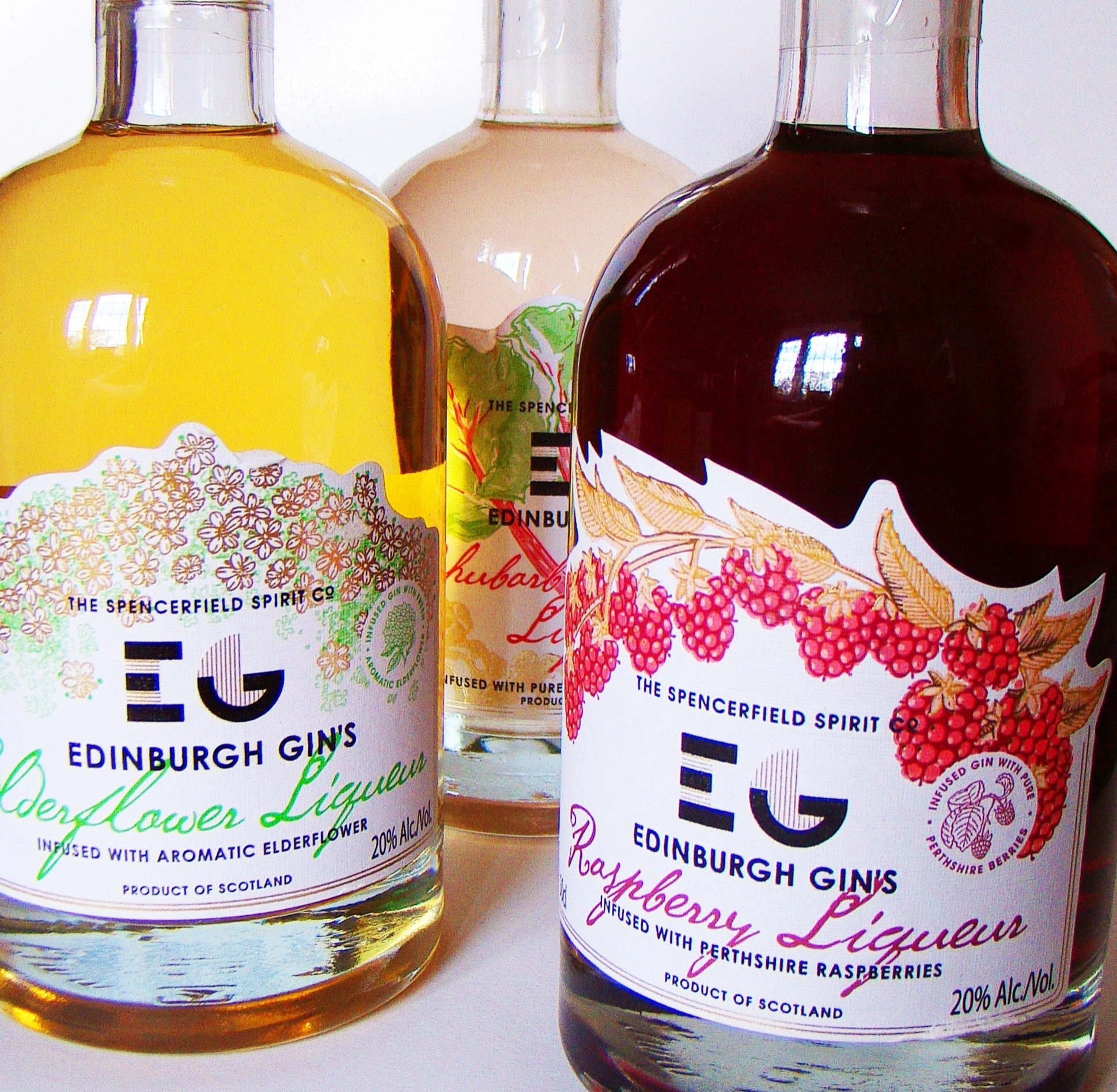 Label commissions from T he Spencerfield Spirit Company  to illustrate their various Edinburgh Gin fruit liqueur labels.