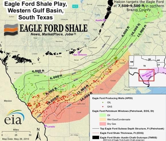 Eagle Ford Contour Map