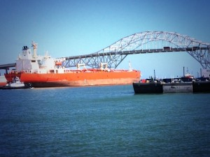 Oil Tanker Leaving Port of Corpus Christi