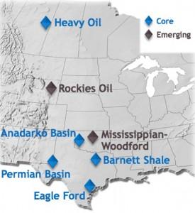 Devon Energy Core & Emerging Asset Map