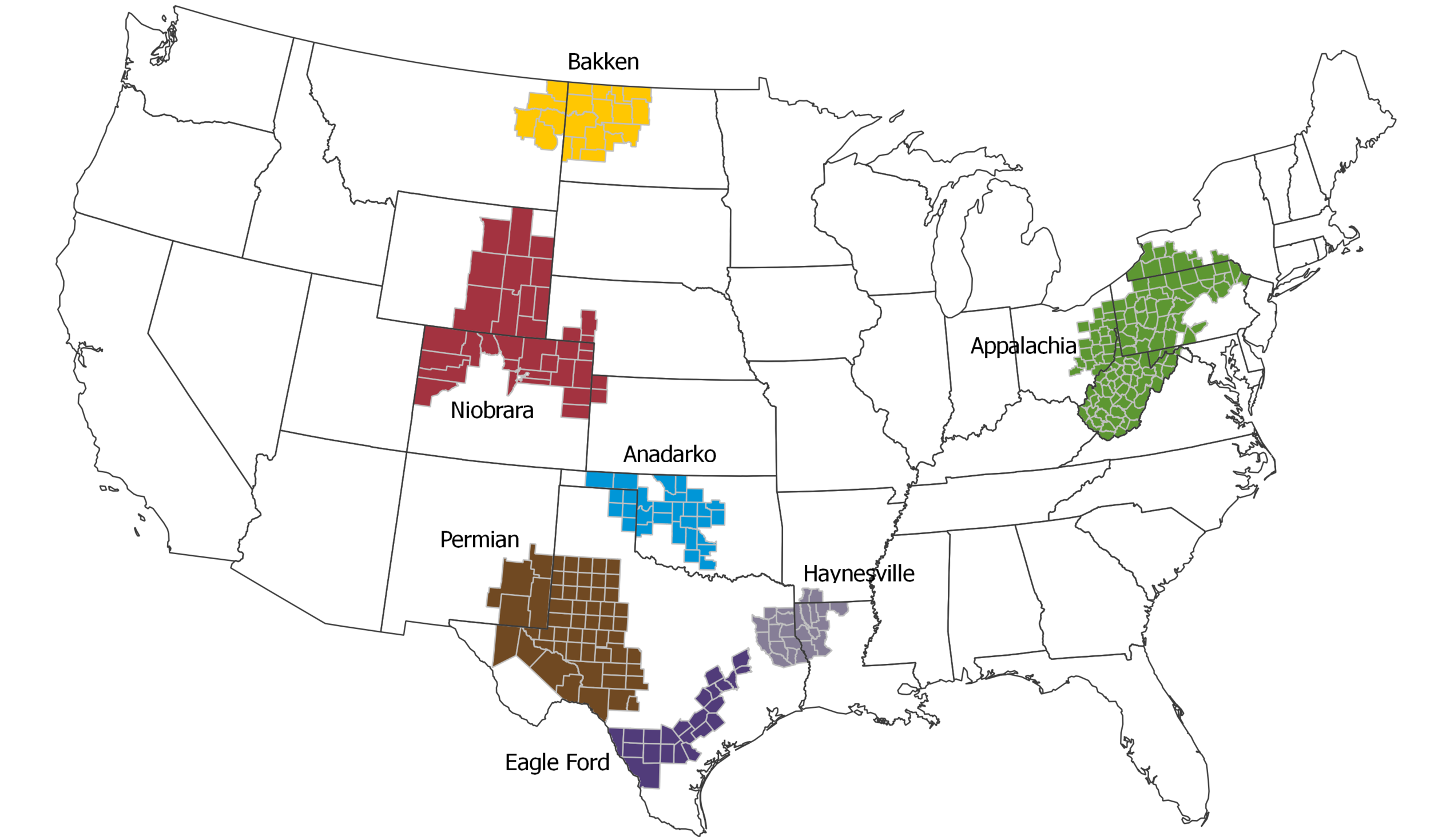 U.S. shale oil and gas regions, source: U.S. Energy Information Administration
