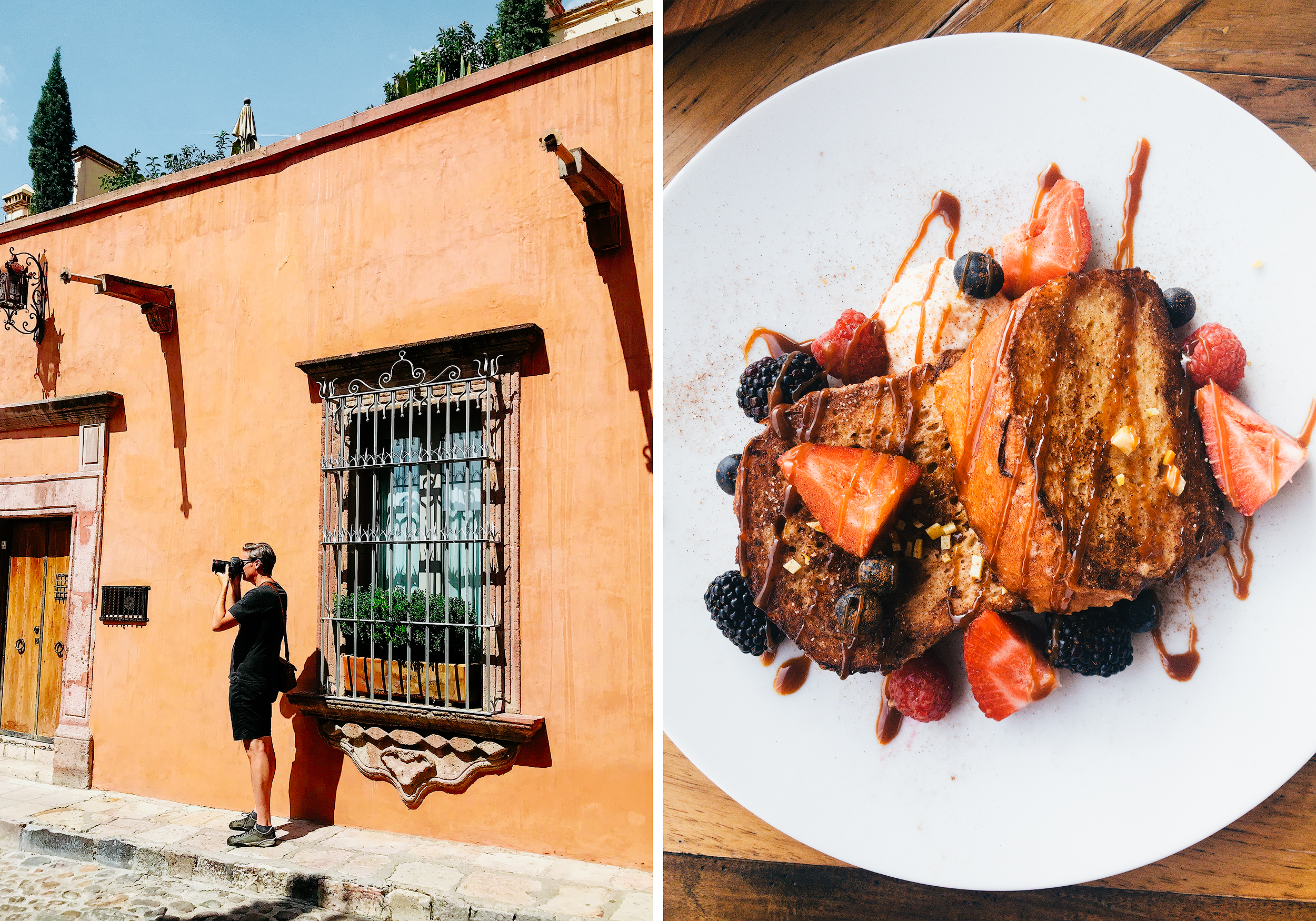 (Left) Me wandering the streets and taking photos, (Right) Incredible food throughout San Miguel, including this sumptuous breakfast