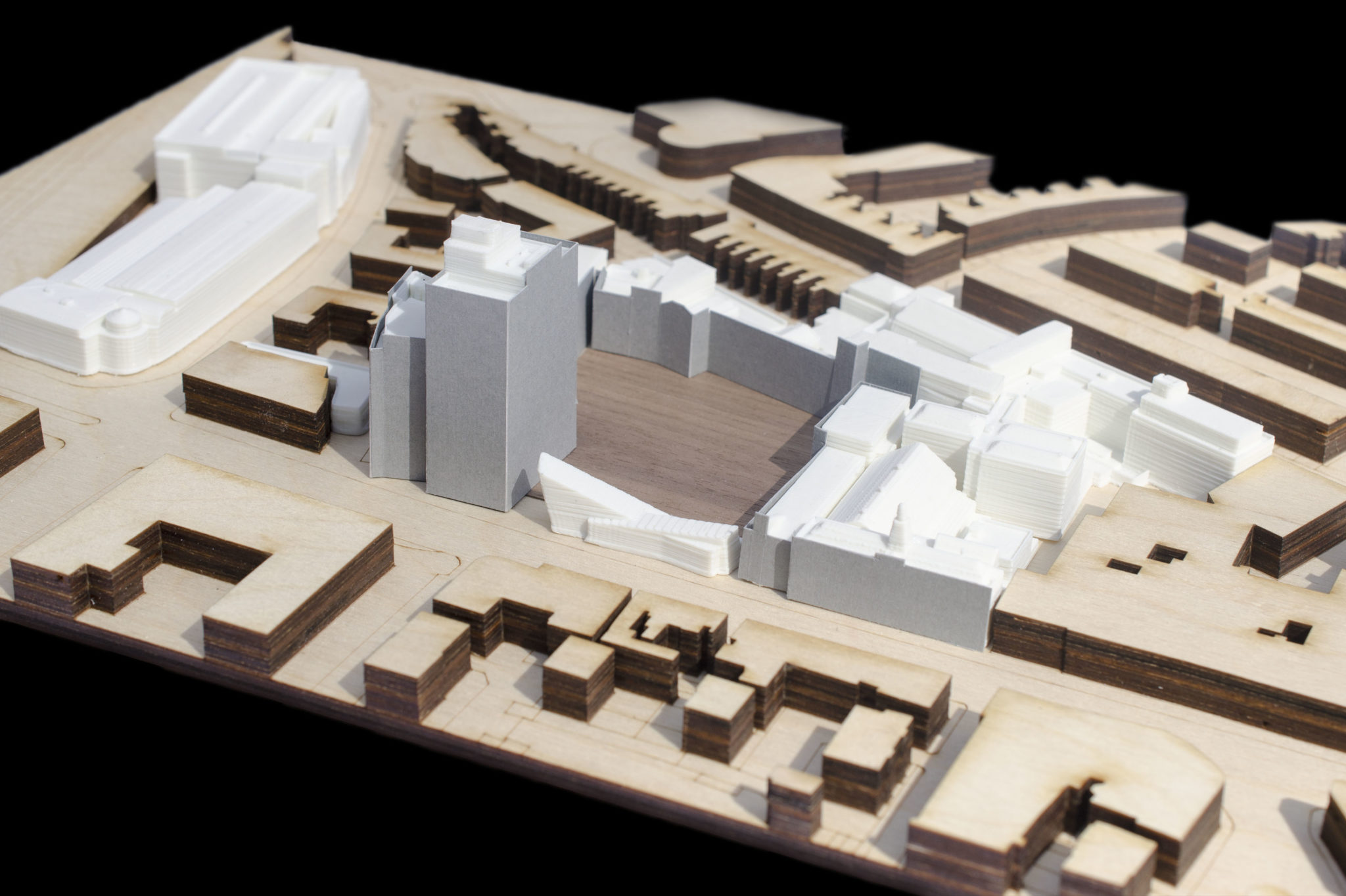 Model of proposed developed campus © Design Engine Architects