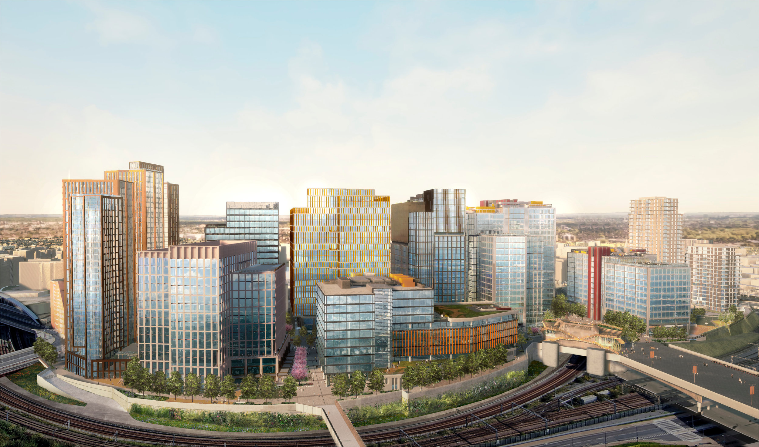 Aerial rendering of proposed development