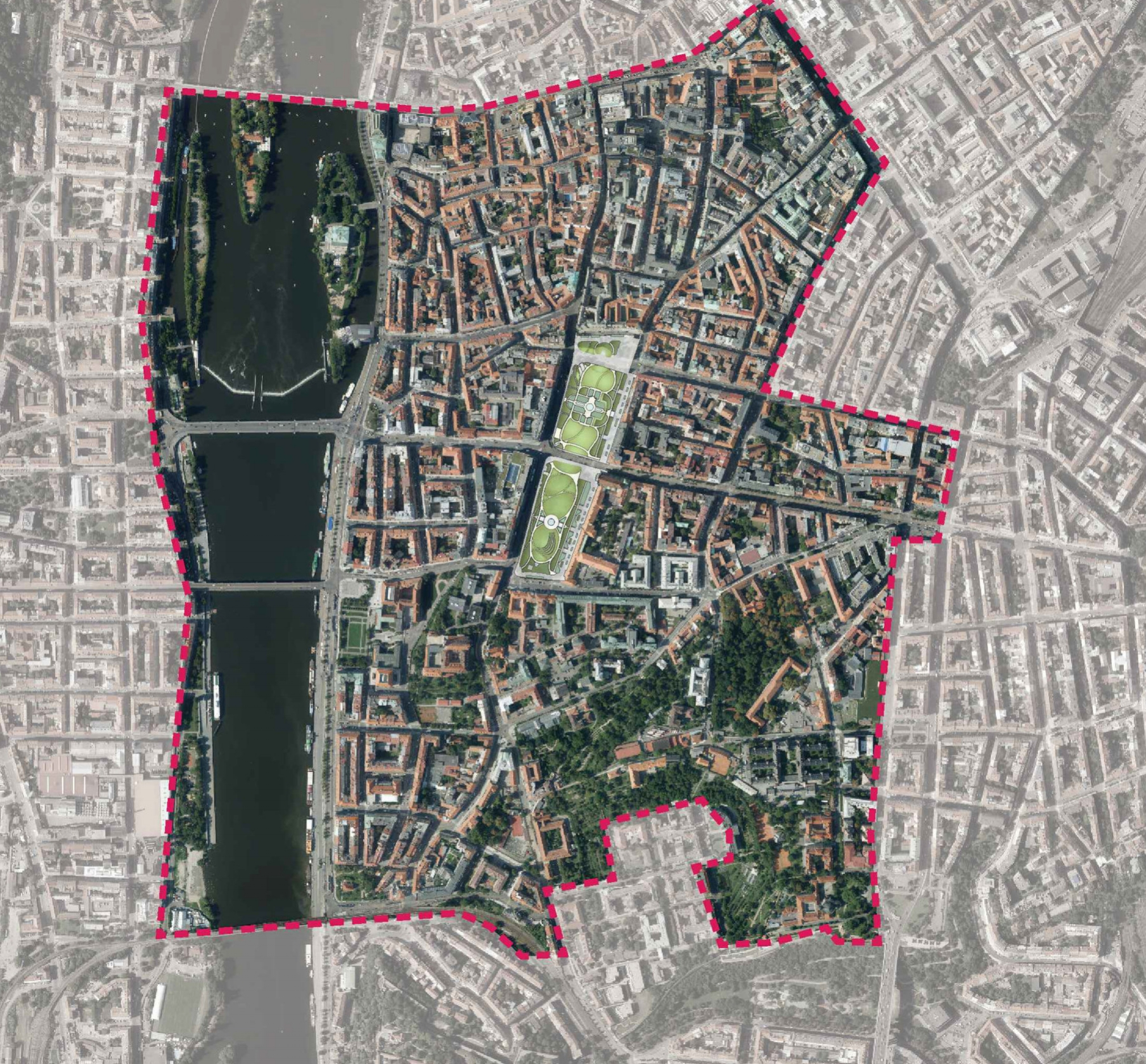 Charles square shown within central Prague (1:10000)