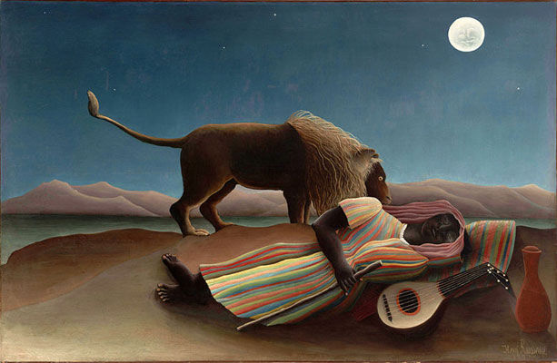 The Sleeping Gypsy by Henri Rousseau, 1897, on display at MoMA
