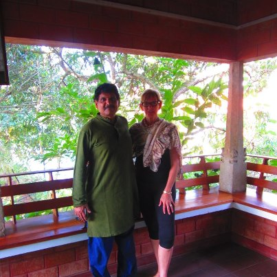 Marcia with friend in India