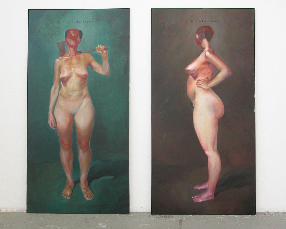 Deux Vendredi de moins 2003, Diptych, Acrylic on MDF 240 x 120 cm (each)