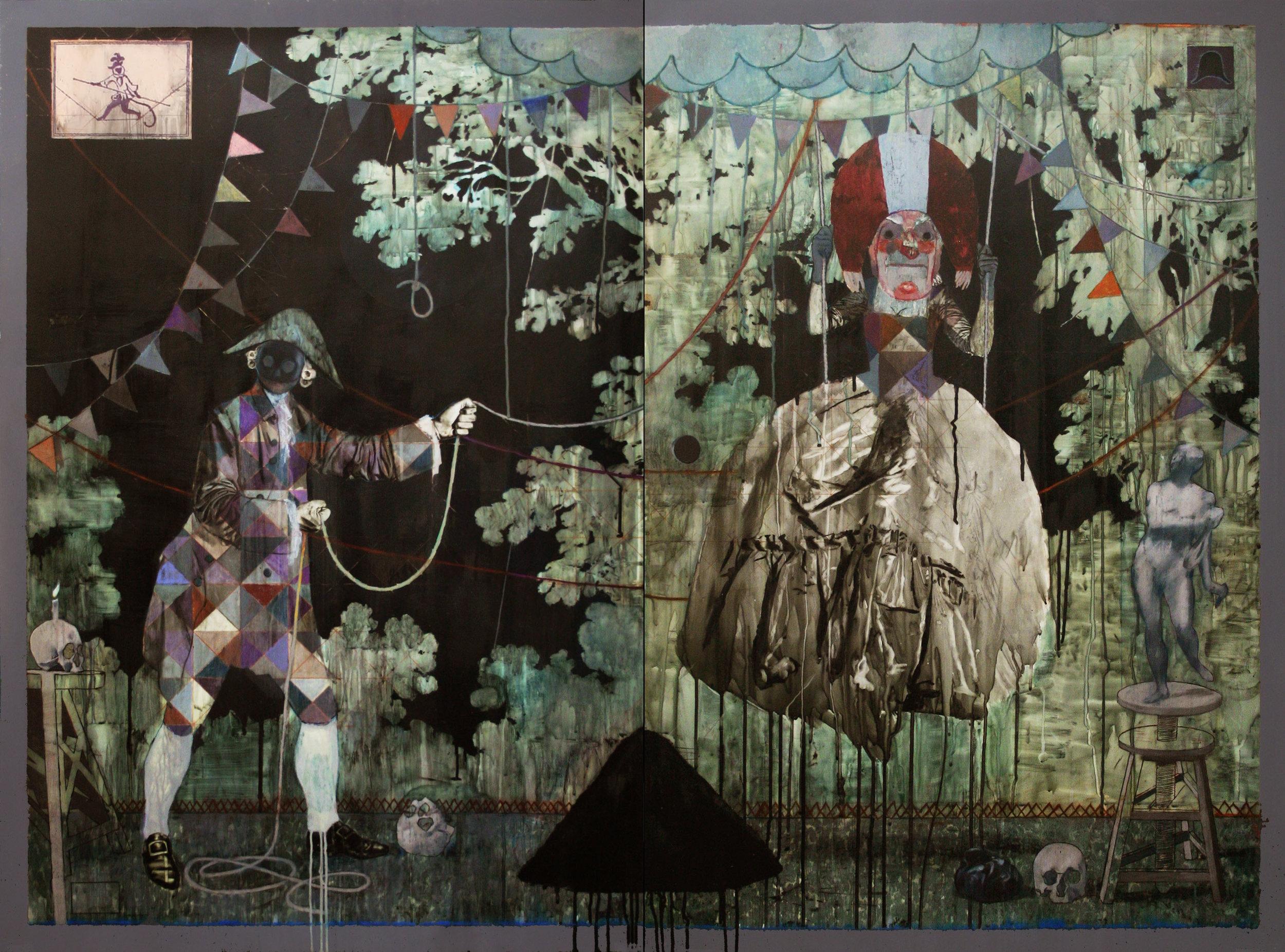 L'Escarpolette ou l'implacable pantomime  2016, Mixed media on drafting film 122 x 168 cm