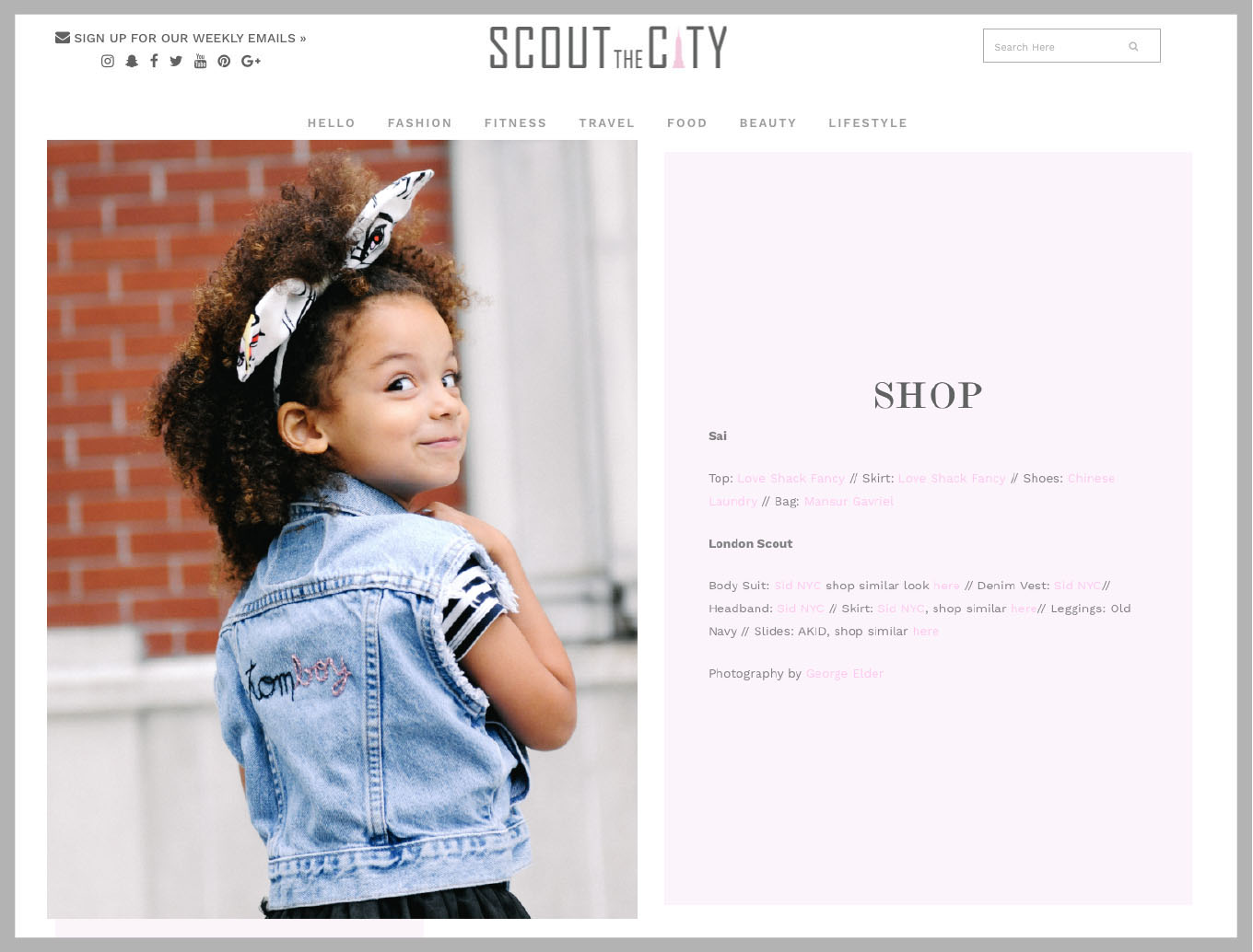 SCOUT THE CITY : London Scout in TOMBOY vintage denim vest, Olivia striped bodysuit, Fly Away headband in Warhol & tulle skirt