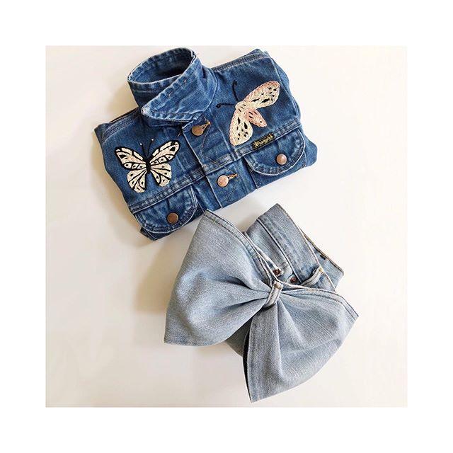 вυттerғlιeѕ & overѕιzed вowѕ 🦋 . . . . . . . #sidnyc #kids #vintagedenim #kidsdenim #kidsvintage #embroidery #reworked #handmade #oneofakind #ministyle #minifashion #kidsstyle #butterfly #bow #coolkids #kidsfashion #reworkedvintage