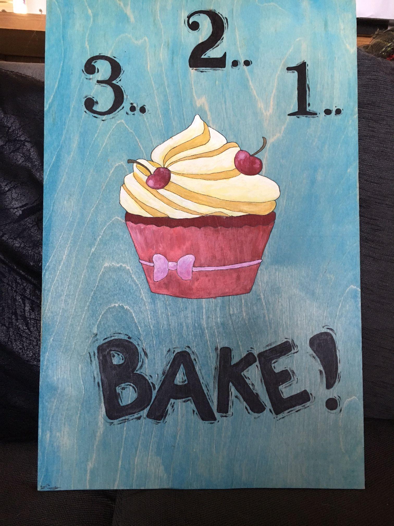 Bake!  Acrylic on wood.