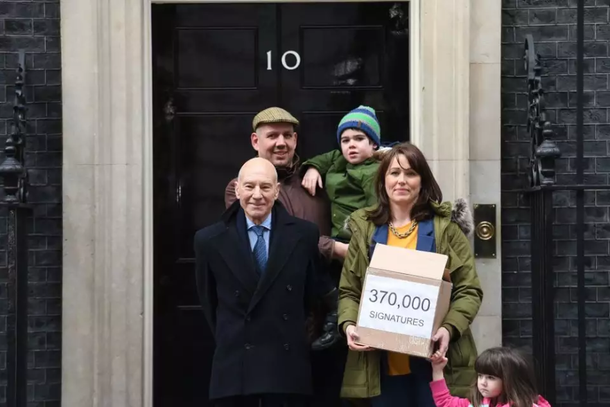 Hannah Deacon takes son Alfie Dingley to hand in their 300,000 signature petition accompanied by Sir Patrick Stewart at number 10.