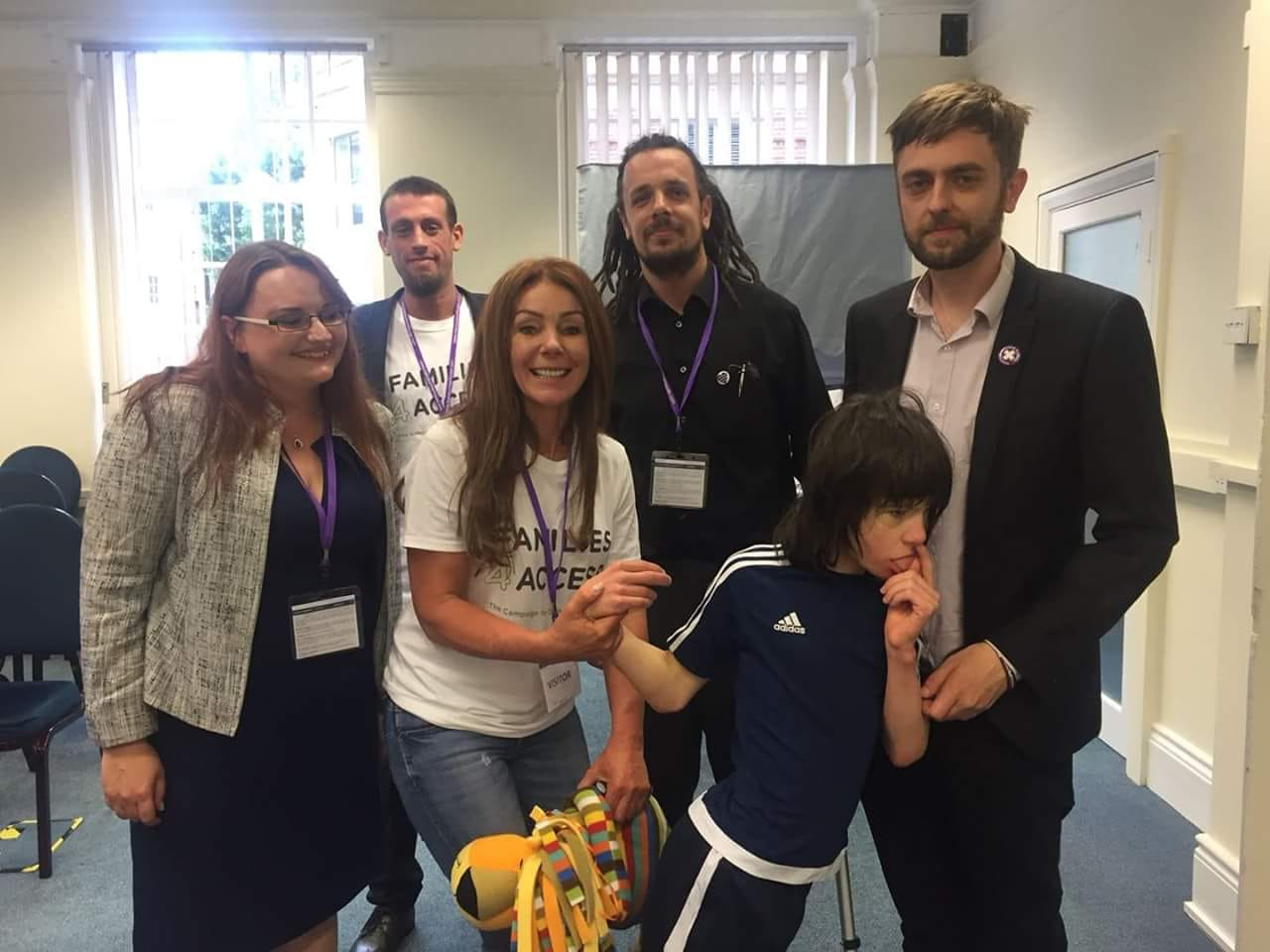 From Left to Right: Faye Jones, Alex Fraser, Keiron Reeves, Clark French -with Charlotte and Billy Caldwell