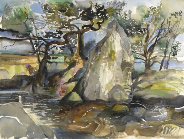 Standing Stone with Trees