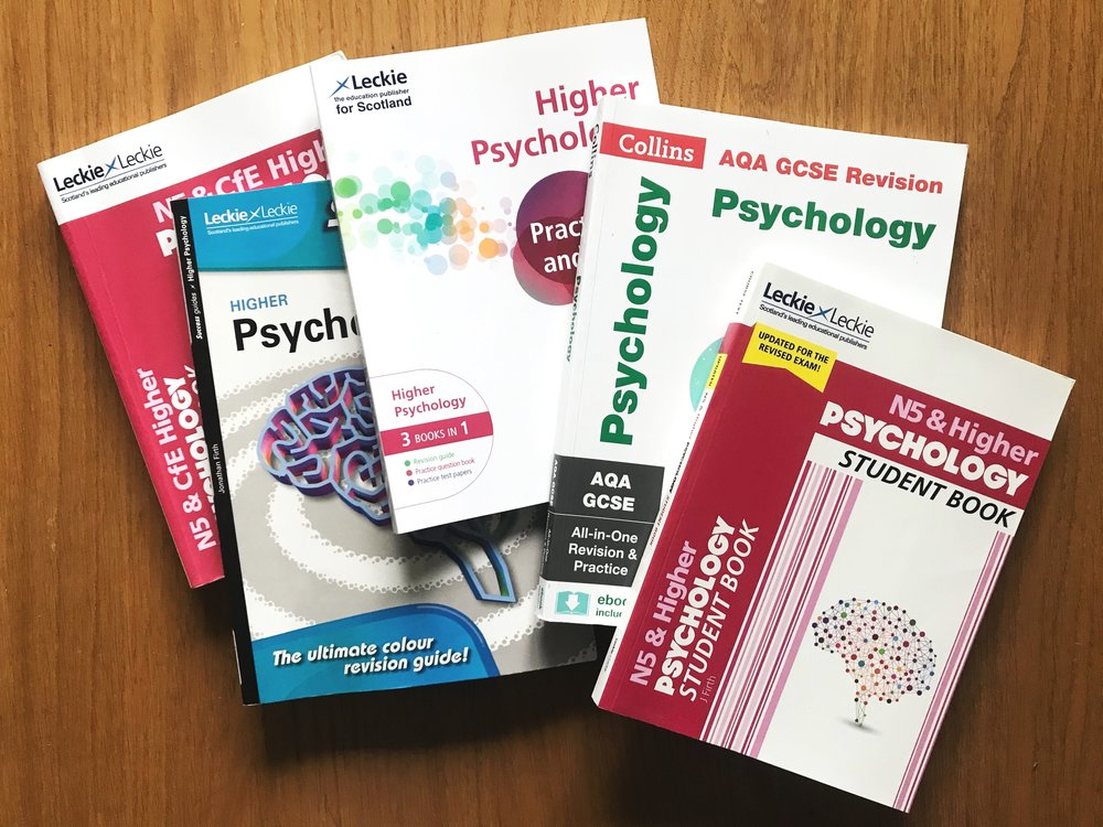 My own school psychology textbooks, including books for the Higher and GCSE courses. There are also a wide range of resources for A-Level Psychology.